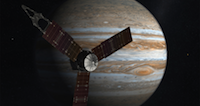 Juno spacecraft orbiting Jupiter