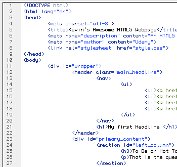 HTML 5 Code Snippet